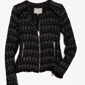 Iro Uma Tweed Black Print Metallic Diamond Jacket